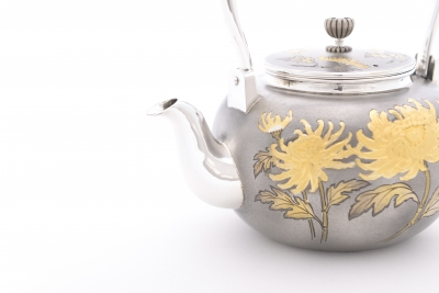 New Work: Hand-Carved Kettle - Chrysanthemum